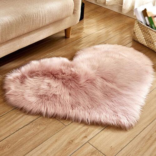 Liebe-Herzförmig Luxus Weich Fellimitat Teppich Heim Schlafzimmer Warm Matte Pad