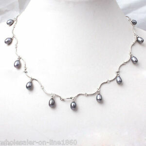Pretty-Natural-7-8mm-Black-Freshwater-Cultured-Pearl-Necklace-18-039-039-AAA