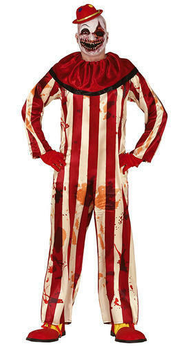 Killer Clown Mens Fancy Dress Evil Halloween Horror Circus Adults Costume Outfit