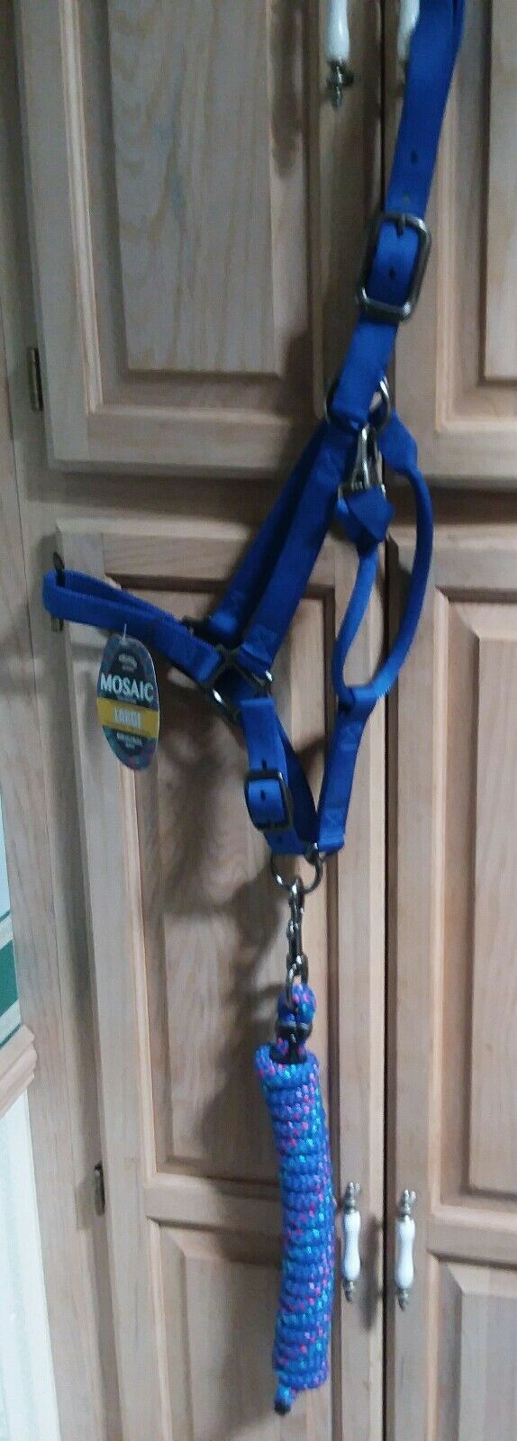 LARGE WEAVER 1  NYLON HORSE HALTER W pewter  hrdware bluee dazzle mosiac adj  team promotions