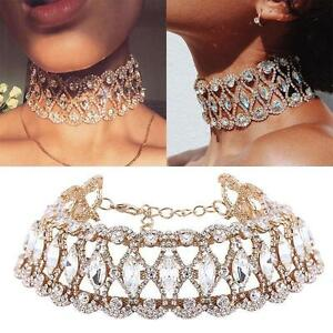 Full-Diamond-Crystal-Rhinestone-Chunky-Choker-Collar-Hot-LuxuryNecklace-Jewelry
