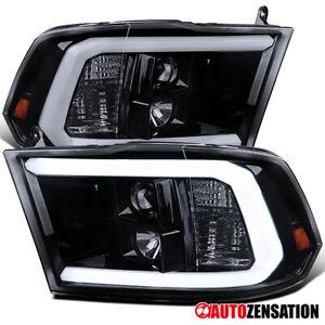 For 2009-2018 Dodge Ram 1500 2500 LED Bar Black Smoke Projector Headlights L+R