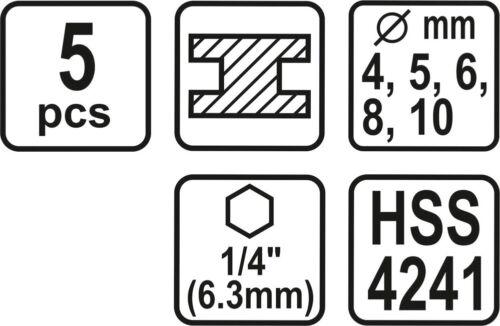 Hex Sechskantaufnahme Spiralpohrer Metall 4-10mm STHOR HSS Bohrer-Satz 5-tlg