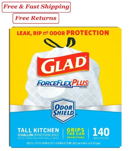Glad Tall Kitchen Drawstring Trash Bags Forceflexplus 13 Gallon White Bag