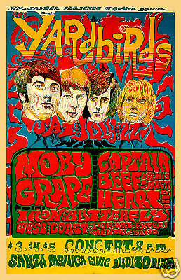 1960's Psychedelic: The Yardbirds at Santa Monica Civic Concert Poster 1968  | eBay