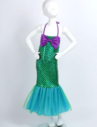 Kids Girls Metallic Shiny Mermaid Dress Halloween Party Fancy Dress Up Costumes