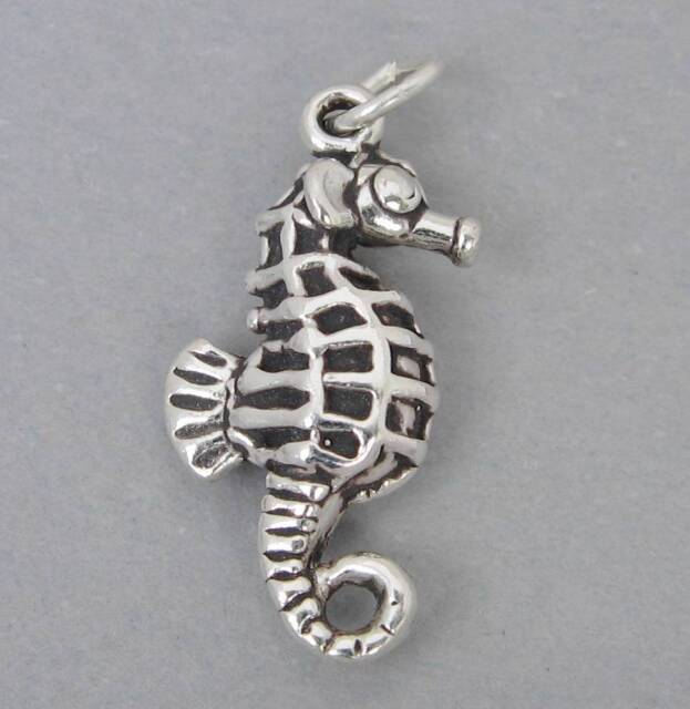 New Sterling Silver Charm Pendant 3D SEAHORSE Ocean Nautical 2715