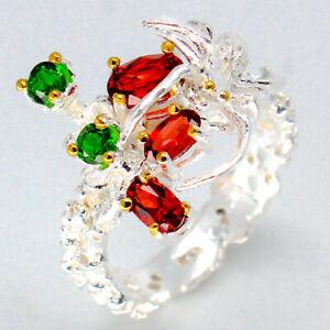 Beautiful-women-jewelry-Natural-Garnet-925-Sterling-Art-Silver-Ring-RVS79