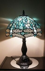 Tiffany-Style-Stained-Glass-Table-Lamp-Dragonfly-18-034-Blue-Jeweled-Vintage-Look