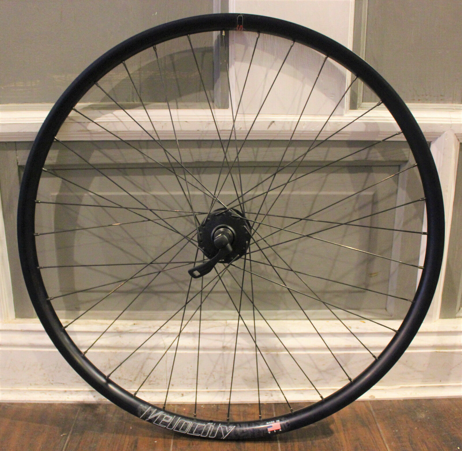 Slight use Shimano Deore Velocity blueent SS Wheelsmith hand-built 27.5 disc wheel