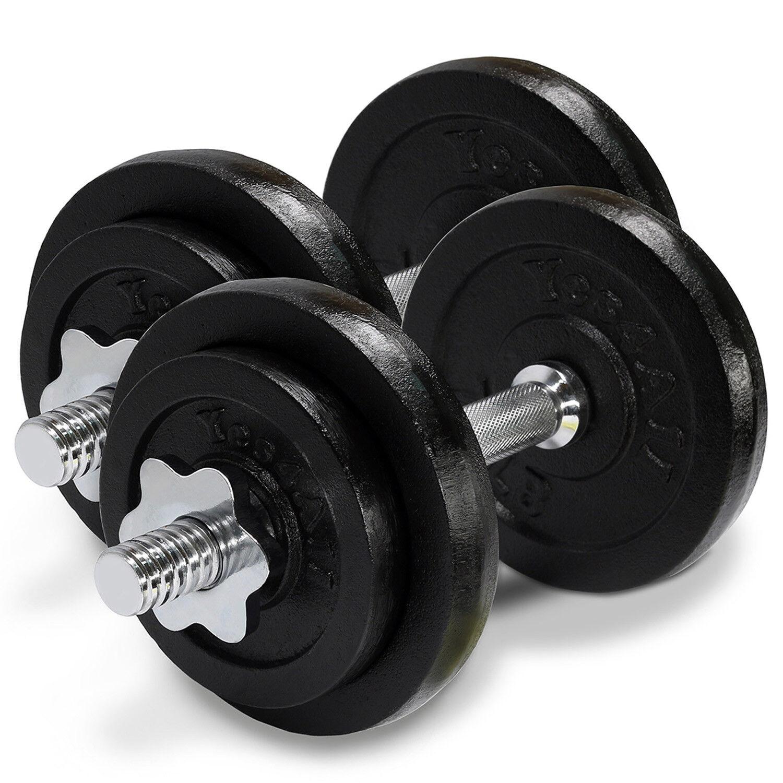 Cast Iron Adjustable Dumbbells Set Cap Gym Weight Plate Fitness 50 lbs - ²D8UJD