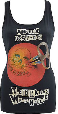 WOMENS BLACK TANK TOP ANGELIC UPSTARTS TEENAGE WARNING PUNK ROCK 1977 SKIN S-2XL