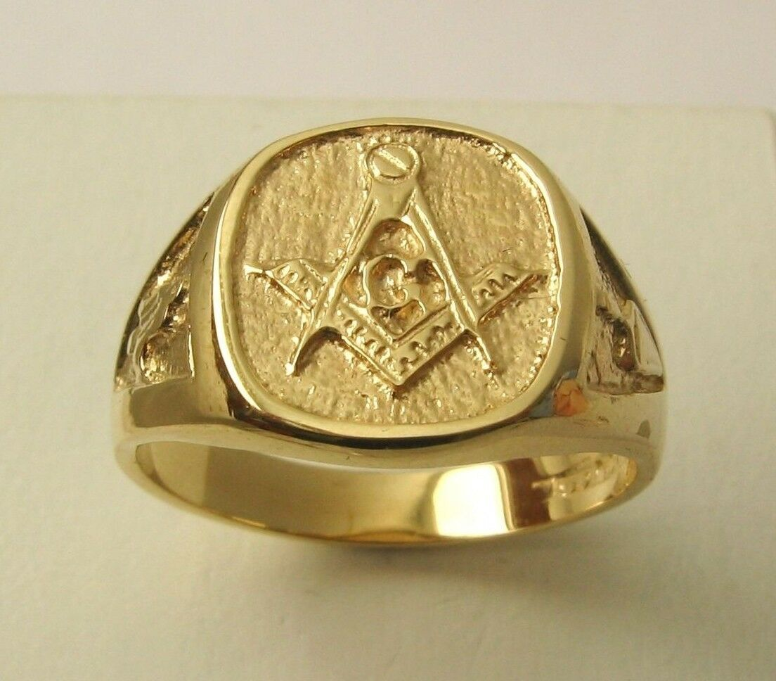 HEAVY GENUINE 9K 9ct SOLID gold LARGE MASONIC RING Size X 12 to Z 13