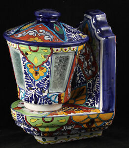 Mexican Pottery Wall Sconces : Vintage Mexican Wall Sconce Lamp Talavera Hand Made/Painted Mexico Heavy eBay
