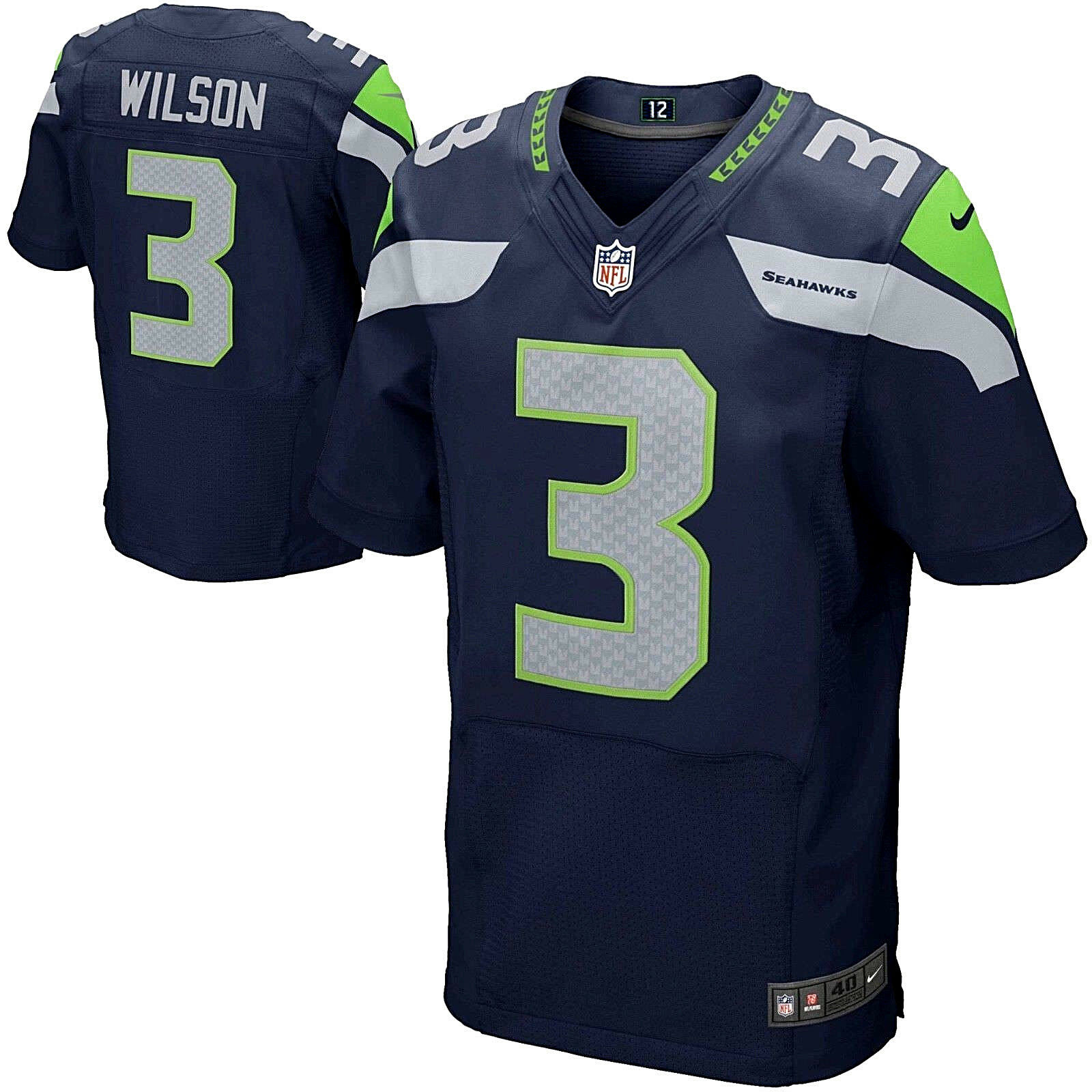 best service a63ba ba5d7 $295 NIKE SEATTLE SEAHAWKS RUSSELL WILSON ON FIELD ELITE JERSEY NAVY 56  XXXL 3XL