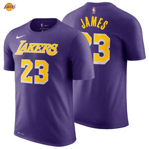 size 40 94883 48be5 Details about LeBron James Los Angeles Lakers Nike T-Shirt 2018/19 Icon  Edition Name Number 23