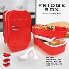 Red Fridge Box - Retro 5 Piece Bento Box Fridge Shaped Packed Lunch Container