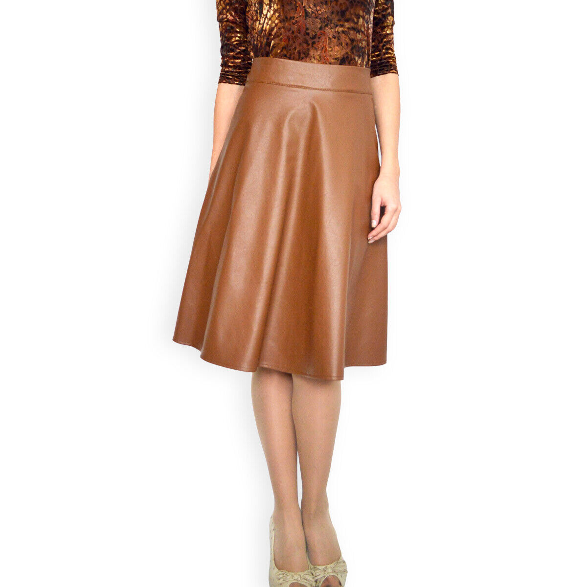 Casual Office Lined A-Line Brown Faux Leather skirt