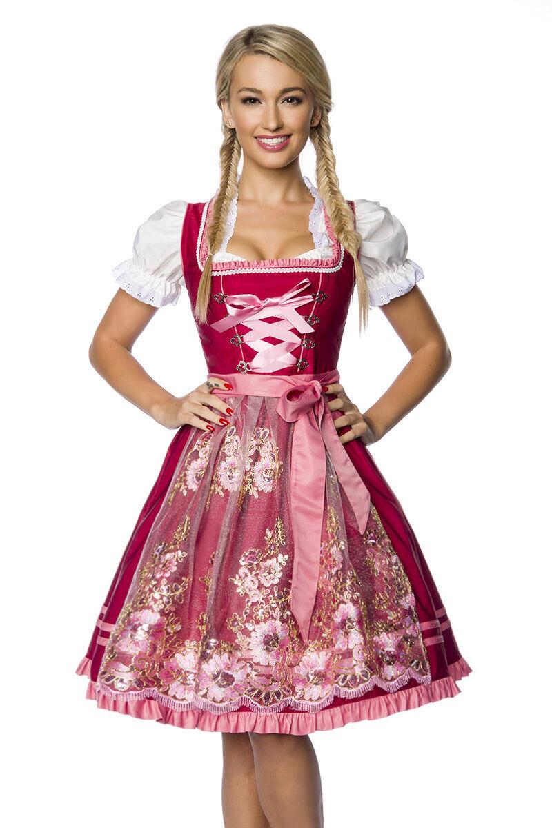 ATX 70022 Premium Dirndl Handstickerei Satin Rosa Wiesn Oktoberfest Tracht