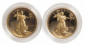 Lot-of-2-1-2oz-Proof-Gold-Eagle-Capsules-Only-Random-Date