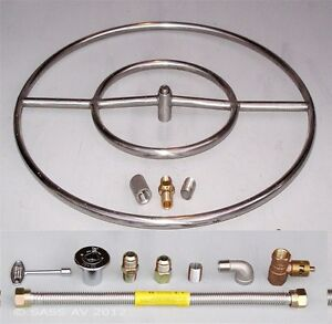 Details About 24 Stainless Steel Fire Pit Double Ring Gas Burner Kit Propane Firegl Lava