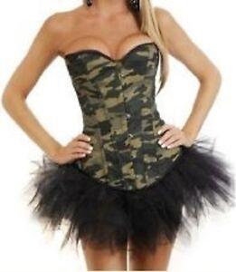 damen armee korsett tarnmuster camouflage m dchen kost m. Black Bedroom Furniture Sets. Home Design Ideas