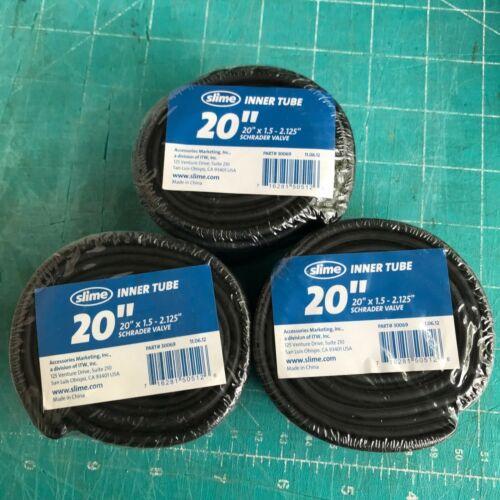 "New Lot 3 Slime Inner Tube Tubes 20"" x 1.5"" x 2.125"" Schrader Valve Self Healing"
