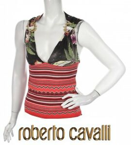 ROBERTO-CAVALLI-Floral-top-size-M-AUTHENTIC-Just-Cavalli