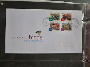 2001-AUSTRALIA-DESERT-BIRDS-BLK-4-STAMPS-FDC-FIRST-DAY-COVER