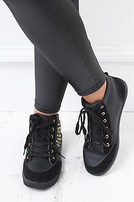 Nuevo Para mujeres Damas Altas Con Cordones Plata Oro Negro Tachonado Entrenador Zapatos Planos
