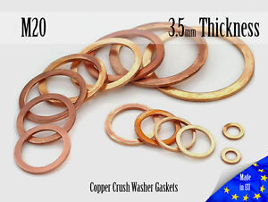 M20-Thick-3-5mm-Metric-Copper-Flat-Ring-Oil-Drain-Plug-Crush-Washer-Gaskets