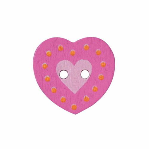 Hearts Fine Style Wooden Buttons All Sizes Choice Of Colours