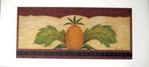 art-print-PINEAPPLE-Warren-Kimble-folk-Pineapples-fruit-primitive-26x12