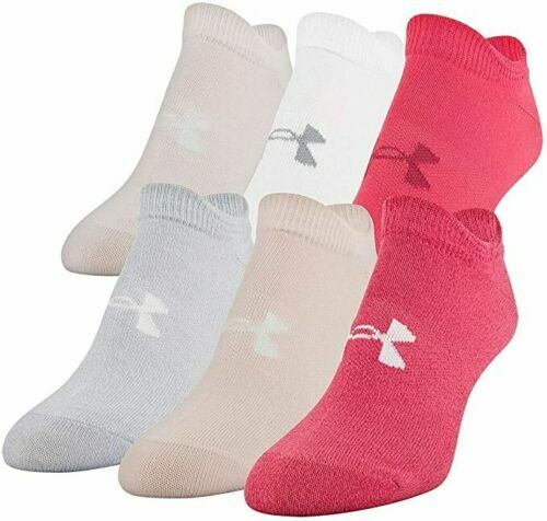 (6-Pair) Under Armour Womens Assorted Pink Essential No-Show Socks Size 6-9