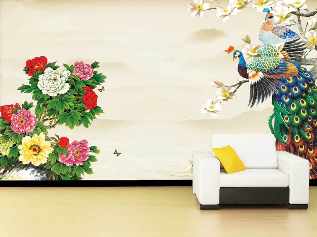 3D colorful Flowers And Birds Wall Paper Print Decal Wall Deco Indoor wall Mural