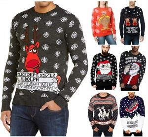 New-Unisex-Men-Women-Santa-Xmas-Christmas-Novelty-Fairisle-Retro-Jumper-Sweater