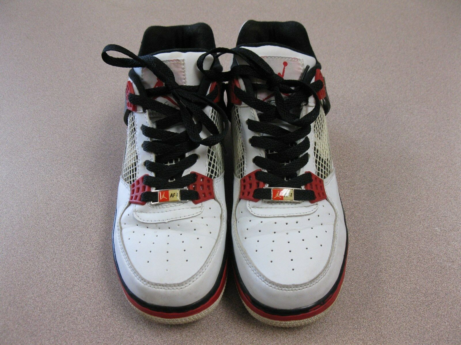 NIKE AIR JORDAN AJF 4 WHITE VARSITY RED BLACK SIZE 7 - 364342 161