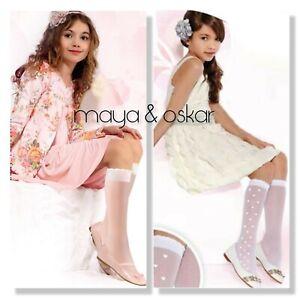 Girls-2-PACKS-Sheer-Communion-Wedding-Bridesmaid-Hearts-Knee-High-Socks-5-14-yrs