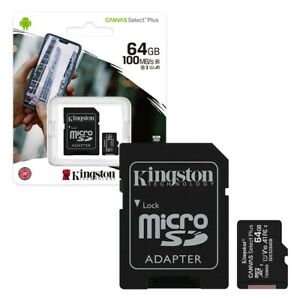 64GB Kingston Canvas Select Plus Micro SD Memory Card Class 10 Includes Adapter