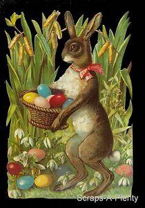German Embossed Scrap Die Cut - Large Easter Bunny & Colorful Eggs BK5051