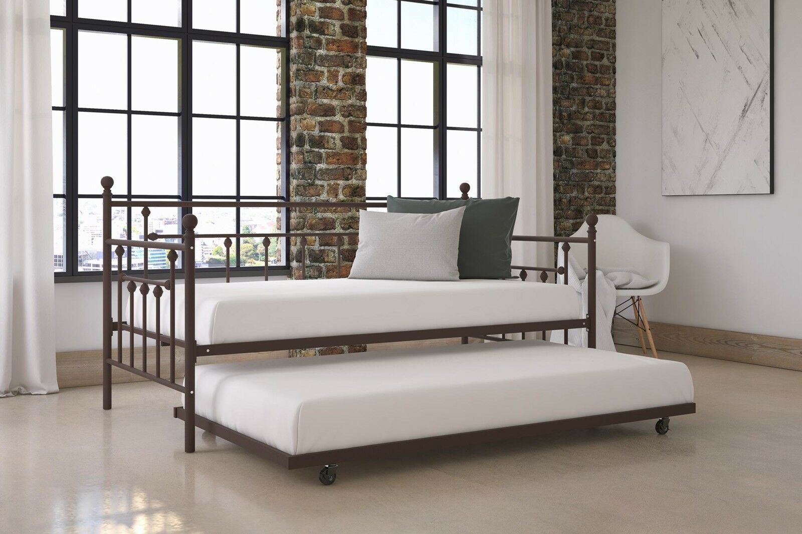 Modern Bronze Finish Twin Size Metal Frame Daybed Day Bed