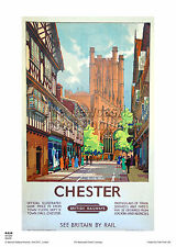 CHESTER CHESHIRE RETRO VINTAGE RAILWAY TRAVEL POSTER ADVERTISING ART HOLIDAY