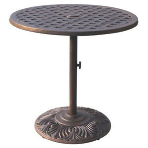 "Bar table outdoor cast aluminum restaurant furniture Nassau 30"" round pedestal"