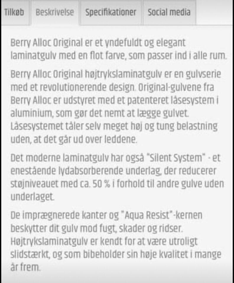 Berry Alloc Laminatgulv