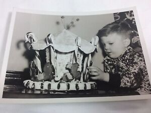 Vintage-Photo-Boy-Homemade-Gingerbread-Animal-Carousel-Candy-Canes-Christmas-50s