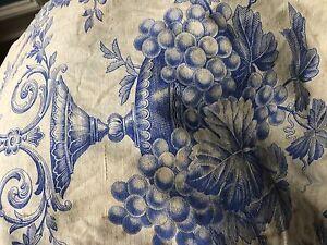 Antique-Toile-De-Jouy-French-blueCotton-Curtain-panel-c1860s-50-x-100-timeworn