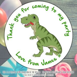Personalised-Dinosaur-T-Rex-Birthday-Party-round-stickers-labels-party-sheet