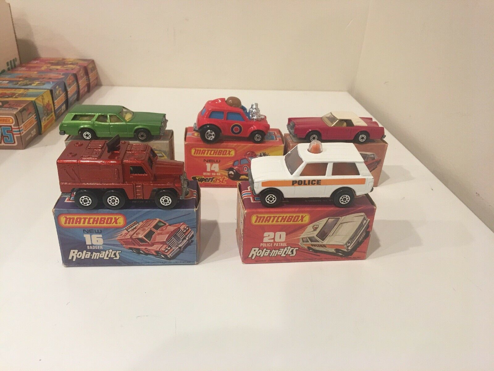 5 MATCHBOX LESNEY 14,16,20,74,28 MINI HA-HA M Badger Cougar Unplayed With