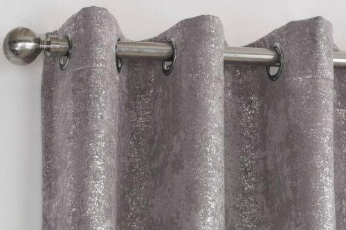 One Pair Of HALO Shimmer Sparkle Thermal Block Out Eyelet Fully Lined Curtains