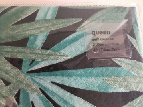 Home Republic Santiago Queen Quilt Cover Set Black BNIP RRP $199.99